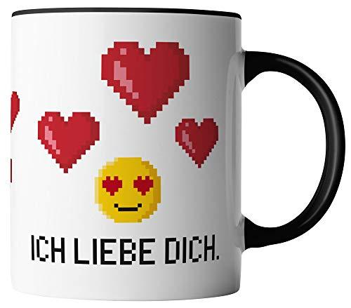 vanVerden Tasse - Ich liebe dich Pixel Emoji - beidseitig Bedruckt - Geschenk Idee Valentinstag Kaffeetassen mit Spruch, Tassenfarbe:Weiß/Schwarz
