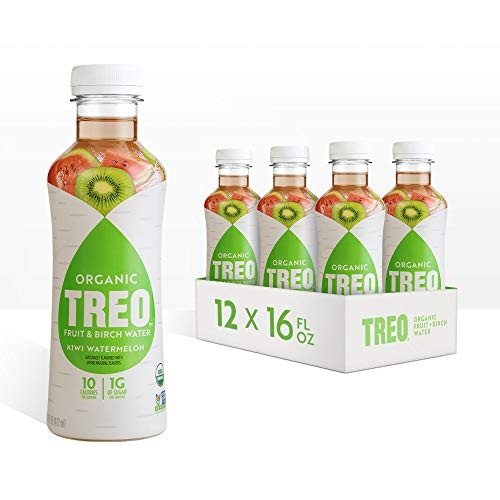 Treo Fruit & Birch Water Drink, Kiwi Watermelon, USDA Organic, Non-GMO Project Verified, Vegan, Gluten-Free, 10 Calories & 1g of Sugar Per Serving, Good Source of Vitamin C, 16 fl oz, Pack of 12