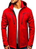 BOLF Hombre Chaqueta de Entretiempo Softshell con Capucha Cierre de Cremallera Nature 5427 Rojo M [4D4]