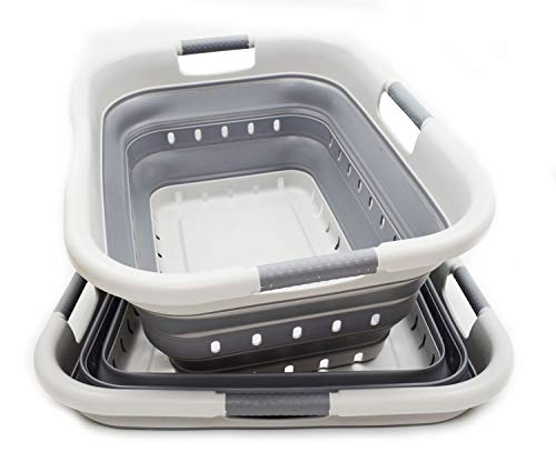 SAMMART Set of 2 Collapsible 3 Handled Plastic Laundry Basket - Foldable Pop Up Storage Container/Organizer - Portable Washing Tub - Space Saving Hamper/Basket (2, Grey/Dark Grey)