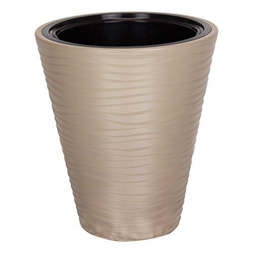 Pot de Fleur Sahara en Plastique Beige 44.5 cm ht avec bac Interne