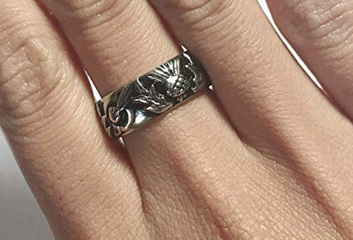 Thistle Knot & Circle band - Celtic Outlander ring