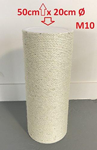 RHRQuality Ersatzstamm für kratzbäume (1 Stuck) 20cmØ und 50 cm Länge M10 Gewinde Sisalstamm