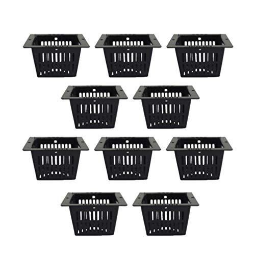 Cabilock - Juego de 10 cestas de plástico para plantas acuáticas (cuadradas, malla Aquatic, para plantas acuáticas, rejilla ranurada), color negro
