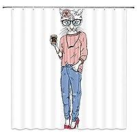 ファッション流行に敏感な女の子のように着飾ったかわいい猫浴室の窓の装飾のための生地のホックが付いているポリエステル防水シャワー・カーテン60X72in