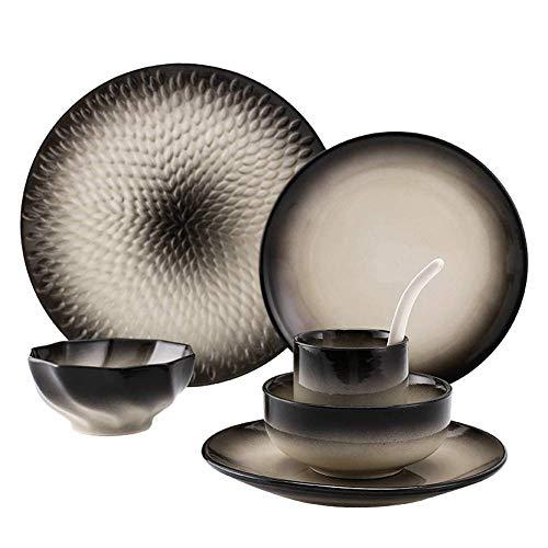 ZJZ Juego de vajilla, Juego de Taza de Cuchara de Plato de Porcelana Retro de 7 Piezas, Plato de Cena Redondo de cerámica Simple Adecuado para lavavajillas de microondas