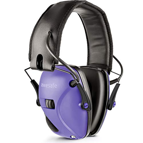 awesafe Electronic Shooting Earmuffs, Shooting Hearing Protection with Noise Reduction Sound Amplification (Purple)