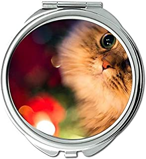 Mirror,Compact Mirror,Cute fantasy funny cat mirror for Men/Women,1 X 2X Magnifying