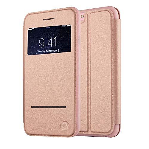 NOUSKE Funda Inteligente con Ventana y Barra de Botones iPhone 6 y 6S de 4.7 Pulgadas de Apple,Oro Rosa