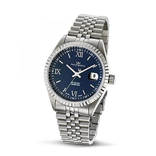 Philip Watch Philip Watch Reloj analógico de Cuarzo para Mujer, Correa de Acero Inoxidable Color Plateado - R8253597062
