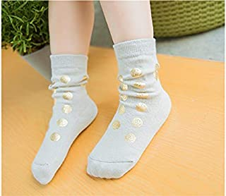 Lovely Socks Children Cotton Socks Kids Autumn and Winter Dots Printing Mid Tube Socks(Black) Newborn Sock (Color : Grey, Size : S)
