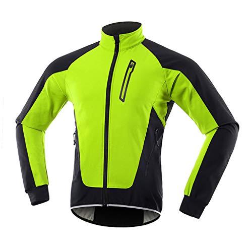 COITROZR Chaqueta Bicicleta Mujer Invierno Chaqueta MTB Mujer Térmico Softshell Impermeable Reflectante Transpirable Ropa Ciclismo Invierno para Exterior MTB Ciclismo Correr,Verde,L