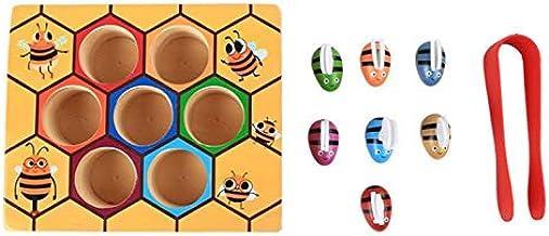 ArgoBa Niños Clip Colmena Juegos Inteligencia Color Cognición Juguetes Clip Pequeño Abeja Juguete Madera Madera Educación Infantil Herramientas
