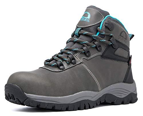 Brown Oak Womens Waterproof Trekking Camping Backpacking Outdoor Shoes Hiking Boots (Grey, 8)