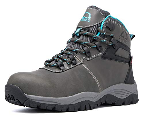 Brown Oak Womens Waterproof Trekking Camping Backpacking Outdoor Shoes Hiking Boots (Grey, 8)