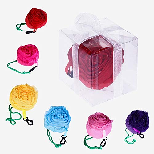 DISOK - Lote de 10 Bolsas Plegable Rosa con Cajita Y Lazo. Bolsas de la Compra Detalles Bodas, Bolsas Desechables Reutilizables de Tela
