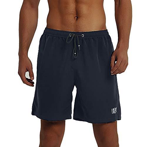Balcony&Falcon Costume da Bagno Uomo, Short da Bagno Uomo Pantalocini Boxer da Bagno Calzoncini Uomo Pantaloncini da Spiaggia Pantaloncini Estivi da Uomo Costumi Shorts da Mare (GrigioNero, XS)