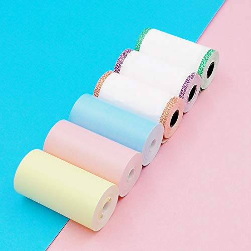 Mini Thermal Paper Roll / 57 x 30mm / Small Printing Paper/Matches Portable Photo Printer (Black on Yellow/Blue/Pink/White, No Adhesive&6 Rolls)