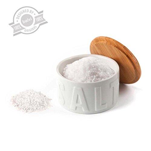 balvi Dose für Salzschuppen Farbe Weiß Mit Deckel Bambus/Keramik
