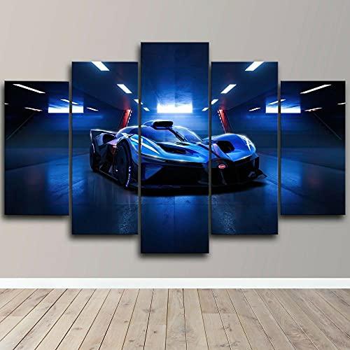 HFYSB XXL Impresión de Lienzo 5 Pieza Cuadro sobre Lienzo Pintura Bolie Hyper Car Abstracta Enmarcado y Listo para Colgar Moderno Decoracion de Pared Abstractos Artística150X 80cm(Enmarcado)