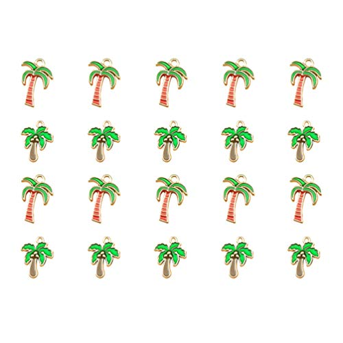 NUOBESTY 20pcs Enamel Charms Beads Tropical Hawaii Palm Tree Coconut Charms Pendant Beads Findings Accessories for Bracelet Earring Necklace DIY Supplies