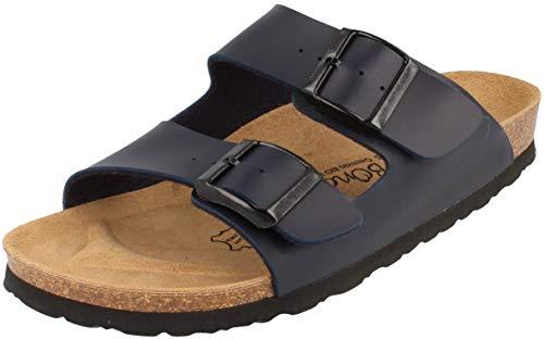 BOnova Herren Pantolette Schwanberg: Bequeme Hausschuhe mit Kork-Fußbett - Sandalen hergestellt in der EU - blau 43