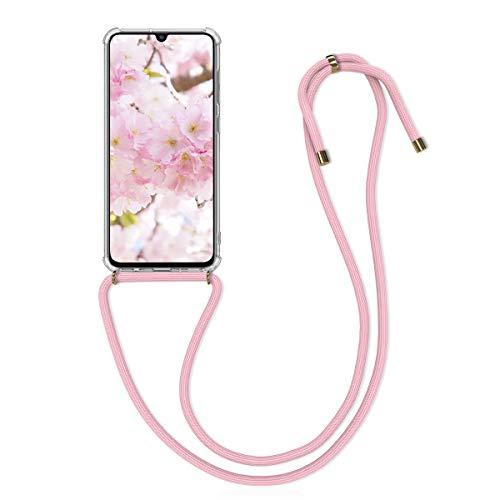 kwmobile Hülle kompatibel mit Samsung Galaxy A70 - mit Kordel zum Umhängen - Silikon Handy Schutzhülle Rosa Transparent