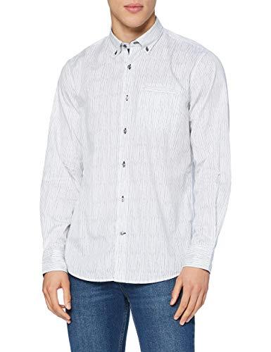 Pierre Cardin Langarm Hemd Camisa, Blanco, L para Hombre