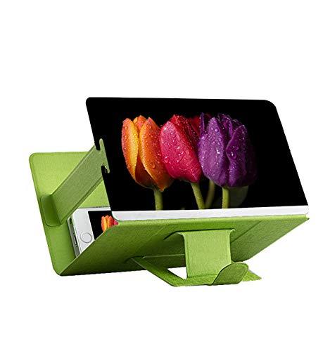 Genieforce - Magnificador de Pantalla 3D para Smartphone (Plegable) Lupa de Aumento para Pantalla de Smartphone con Efecto 3D. Verde