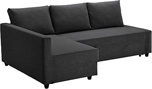 Dark Gray Sleeper Thick Cotton Sofa Cover Replacement is Made Compatible for Ikea Friheten Sofa Bed, Or Corner, Sectional Slipcover. Sofa Cover Only! (Dark Gray Right Arm Longer)