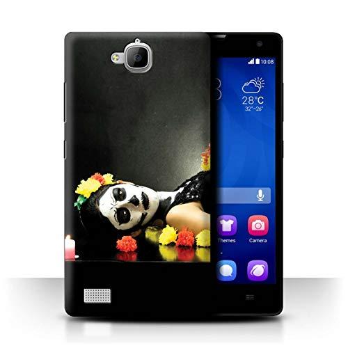 Stuff4 Hülle/Hülle für Huawei Honor 3C / Beerdigung Tod Grusel Muster/Tag Der Toten Festival Kollektion