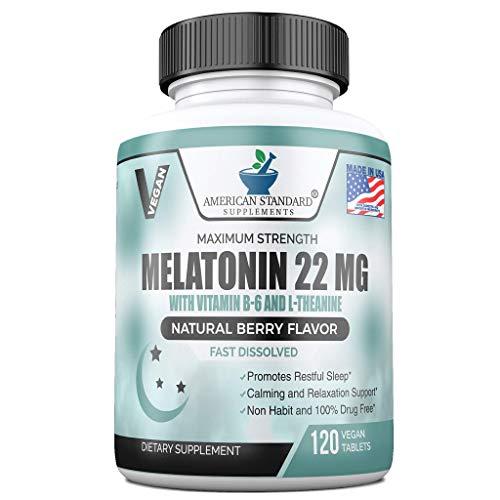 Melatonin 22mg Per One Tablet with Vitamin B6 & L-Theanine, 120 Fast...