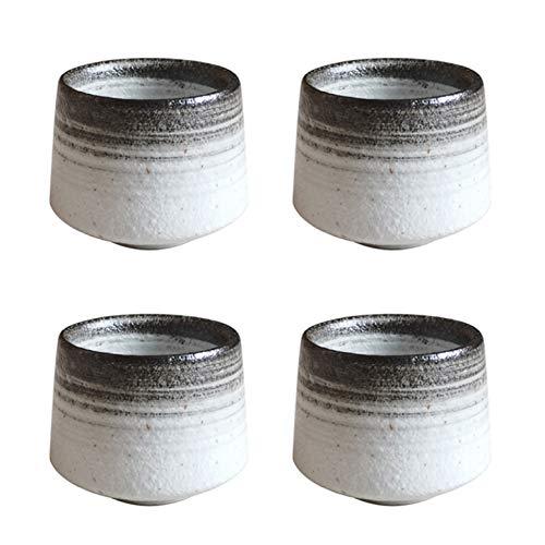 Teetassen Kaffeetassen Keramik Chinesische Teetasse 200 ml, 4er-Set, Japanische Yunomi-Sushi-Teetassen Porzellanische asiatische Teetassen Keine Griffe (Kreis braun)