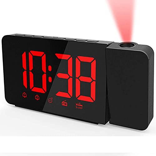 SCJ Reloj Despertador con proyección en el Techo, Radio FM, Despertadores Digitales para dormitorios, Brillo Ajustable, Cargador de teléfono USB, Alarma Dual, Apto para la Noche, Rojo