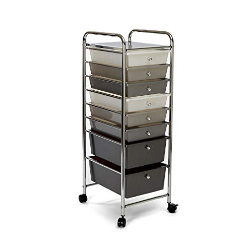 Seville Classics 8-Drawer Multipurpose Mobile Rolling Utility Storage Bin Organizer Cart, White/Gray/Black Gradient