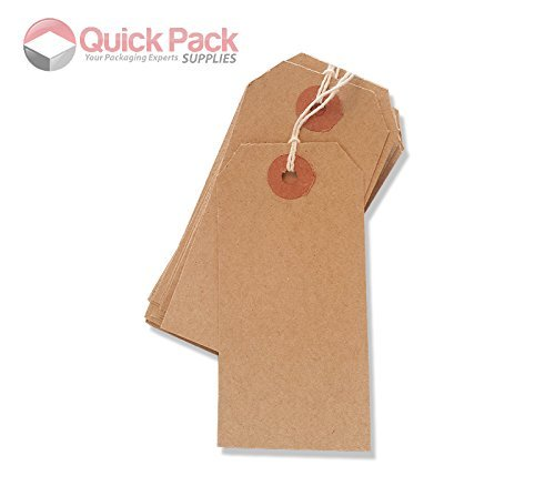 1000 Pack - 70 x 35mm Brown Buff Strung Tags 977296
