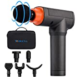 Muscle Massage Gun Deep Tissue Percussion Massager - Cordless Handheld Body Massager for Athletes Muscle Relaxation - 5 Speeds Vibration, 6 Massage Heads, Portable Carrying Case