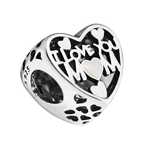 LISHOU Mujer Pandora S925 Plata Esterlina Te Amo Mamá Corazón Dijes Cuenta Moda Chica Pulsera Collares Fabricación De Joyas DIY
