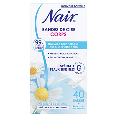 Nair- Bandes de Cire froide Corps - Spéciale Peaux Sensibles à l'extrait de Camomille - Nouvelle Technologie pour plus d'efficacité - 99% d'origine naturelle - 40 bandes
