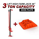 Farm Jack 48'(3 Ton) with Jack Base,BUNKER INDUST High Lift Farm Jack 4x4 4WD Heavy Duty Off Road Recovery Emergency for Fence Work,Winching,Removing Stumps,Pulling Equipment,Small Buildings and Truck