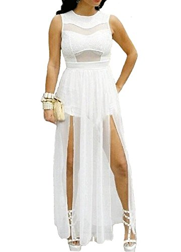 730 Plus Size Double Slits Lace Chiffon Jumpsuit Maxi Dress (2X, White)
