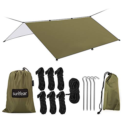 Hammock Rain Fly Tent Tarp Provides Effective Protection Against Rain, Snow. 32ft Long Ridgeline. Big 9.8x9.5ft Durable, Waterproof 210D Oxford. 6 Reflective Guy Lines, 2 Stuff Sacks. Easy Assembly