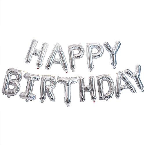 Ponmoo Foil Palloncini Happy Birthday Banner Kit - Argento, Bandiera di Buon Compleanno Palloncini Festa Decorazioni, Festa di Compleanno Scritta Palloncino Happy Birthday per Adulti Bambini