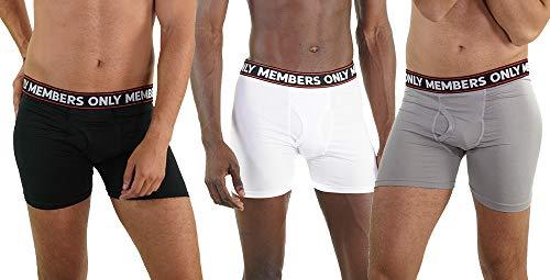 Members Only Herren Boxershorts mit Logo, elastisch, gebürstet, 3er-Pack - - Small