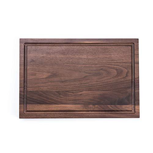 xutu Tabla de cortar extragrande de madera de nogal, tabla de cortar y tallar, bloque de encimera con ranura de goteo de jugo, bandeja de carne de madera maciza (color: marrón)
