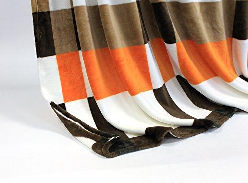 Feinste Mikrofaserdecke Kuscheldecke Tagesdecke, extra dick mit Silk/Cashmere Touch, ca. 150 x 200 cm, braun/orange/weiss
