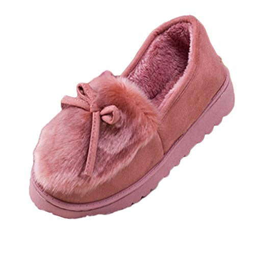 Shaoyao Damen Winter Plüsch Hausschuhe Komfort Warme Home rutschfeste Pantoffeln Weiche Fellschuhe Slippers Pink 40