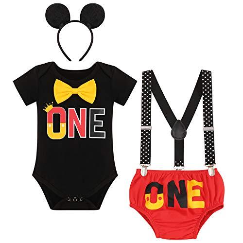 FYMNSI Conjunto de 4 piezas de algodón de manga corta para bebé, con tirantes y orejas, para el primer cumpleaños Negro + Rojo One 6-12 Meses