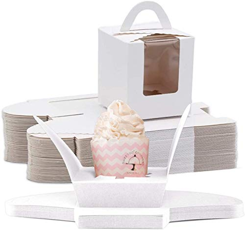 NPLUX Cupcake Boxes,60pcs Single Cupcake Carrier with Window Inserts for Bakery Wrapping(White)