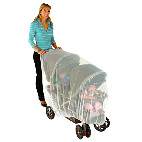Nuby Double Stroller Universal Size Mosquito Net, White